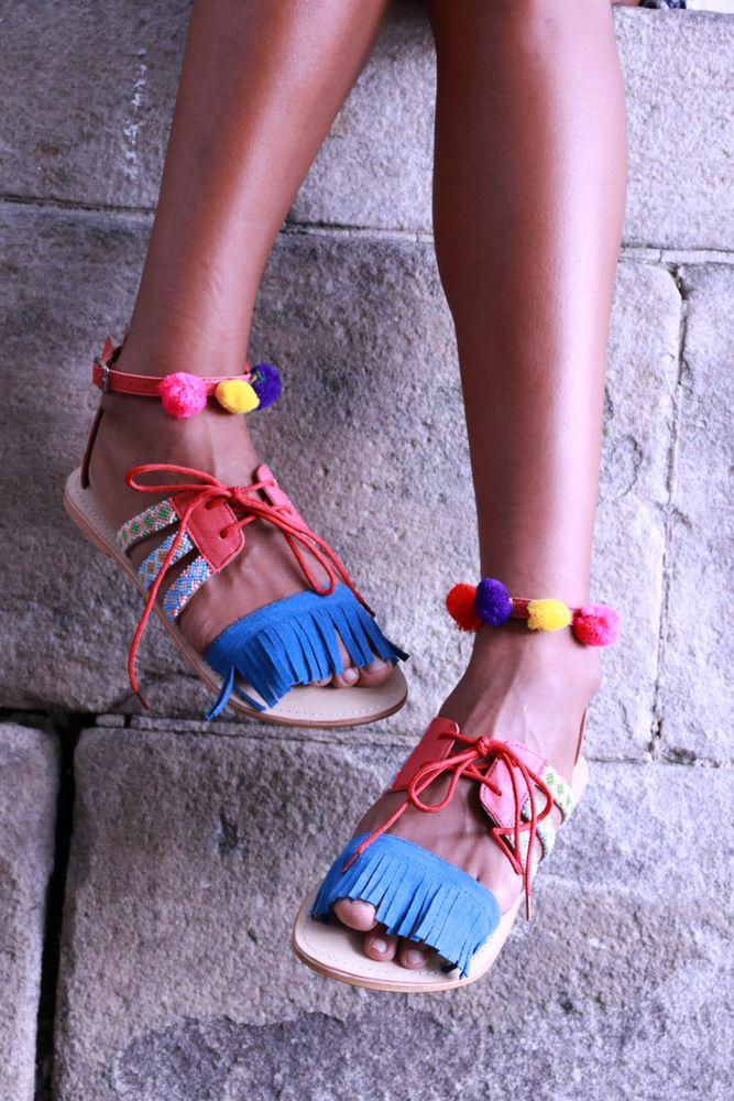 Image of Fringe and Pompom Sandals - Blue/Raspberry