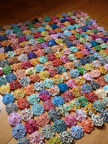 WIP- Yoyo quilt progress | Flickr - Photo Sharing!