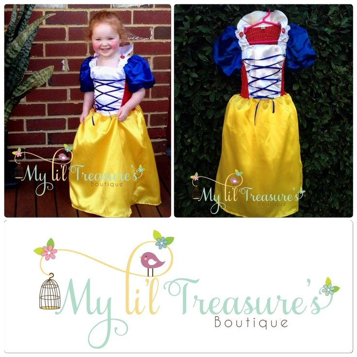 This gorgeous Snow White inspired dress is made from satin. The skirt has a layer of tulle and lined with taffeta to avoid irritation.  *  $42.95 Small (fits most 2 – 4 year olds)  * Medium (fits most 4 – 6 year olds)  *Some slight colour variations may be noticed from computer/device screens to that of the actual item*