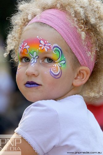 cute rainbow face painting for little faces