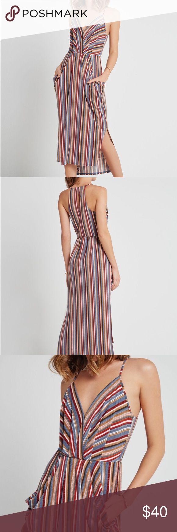 BCBG striped midi dress This dress is so cute! Striped midi length dress, cinches at waist, and has pockets! Who doesn't love pockets. BCBG Dresses Midi