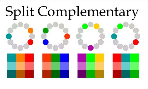 Split Complementary Split Complementary are sets of colors that are opposite each other on the color wheel. Unlike simple complementary pair...