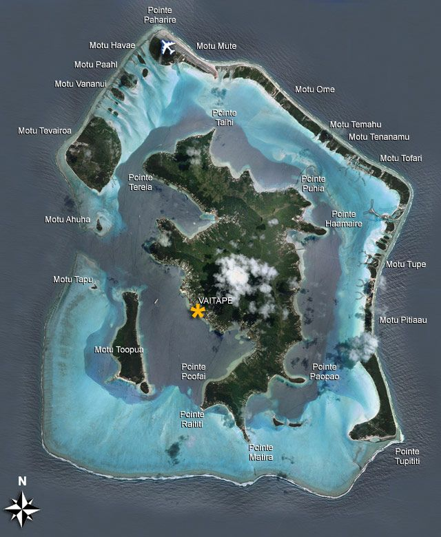 Bora Bora Island Map - Help to orient yourself with this Tahitian island in the South Pacific with overwater bungalows.