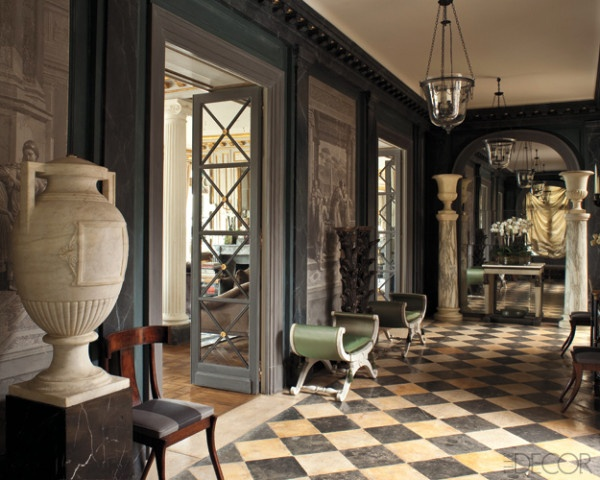 Black and white diamond pattern floor, grey neoclassical furniture and objects. Frédéric Méchiche
