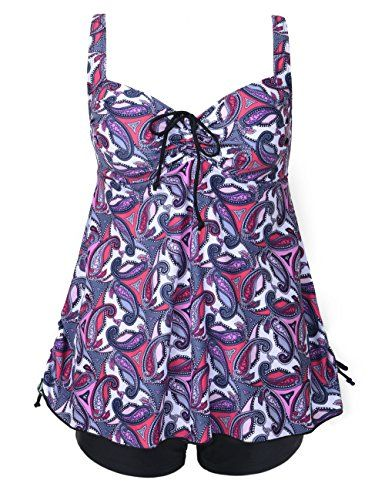 Firpearl Women's Paisley Print Plus Size Tankini Swimwear Swimsuit 12 Pink small Paisley