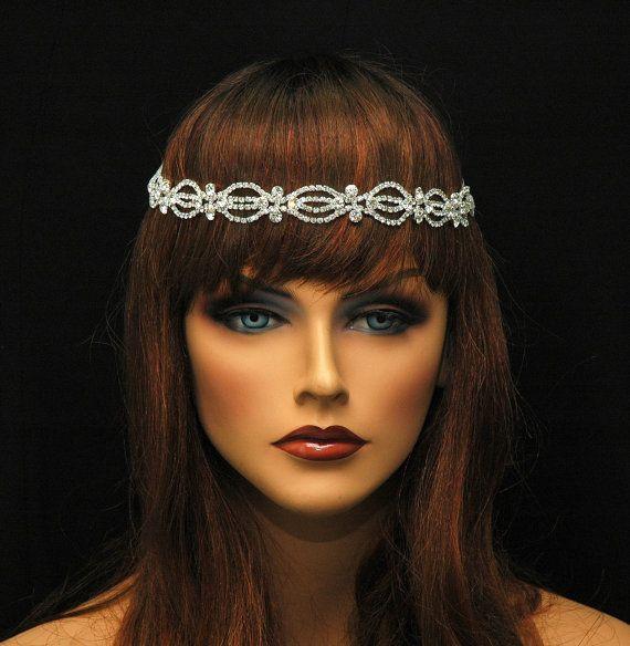 1920 S Bridal Headpiece Crystal Wedding Head Piece Rhinestone Forehead Band Headband Ayansiweddingdesigns