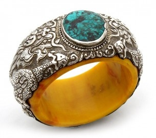 Tibetan Repousse Silver and Turquoise Bracelet