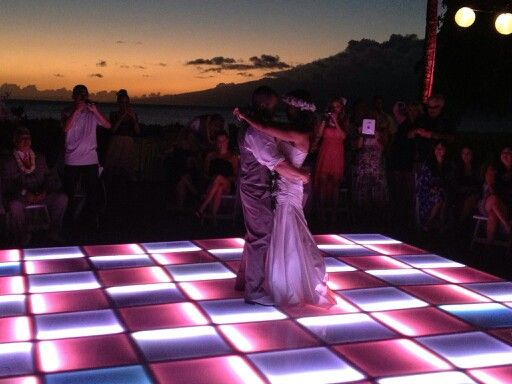 Coral & White LED Dance Floor during a Beautiful Maui Sunset..