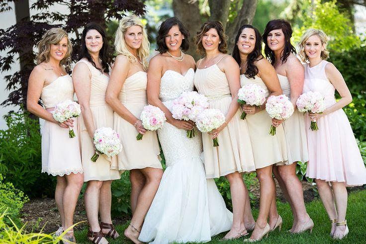 Mismatched bridesmaids dresses #peonybouquet #champagne #mismatched #bridesmaids #mermaiddress