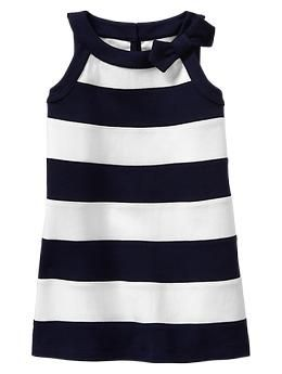 Bow striped dress- green mirage/ navy and white- sleeveless shirt- Gap kids- baby girl