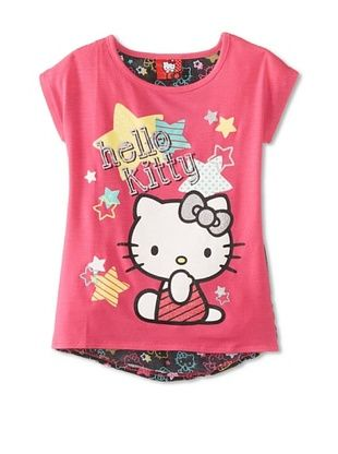 67% OFF Hello Kitty Girl's Graphic T-Shirt with Chiffon Back (Fuchsia Purple)