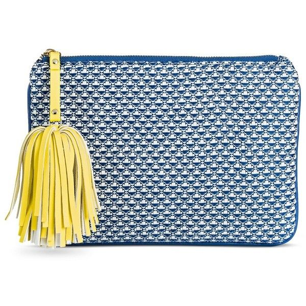 Women's Jacquard Clutch-Merona, Blue (22 CAD) ❤ liked on Polyvore featuring bags, handbags, clutches, jacquard handbags, zipper purse, hand bags, target purses and blue clutches