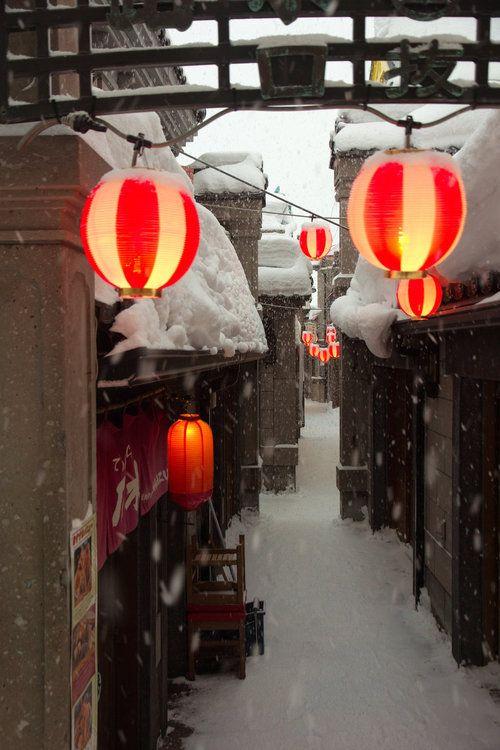 Snow Lanterns, Hokkaido, Japan