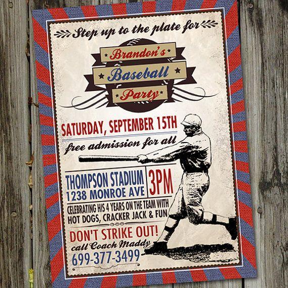 Vintage Baseball Printable Party Birthday by partymonkey on Etsy, $15.00