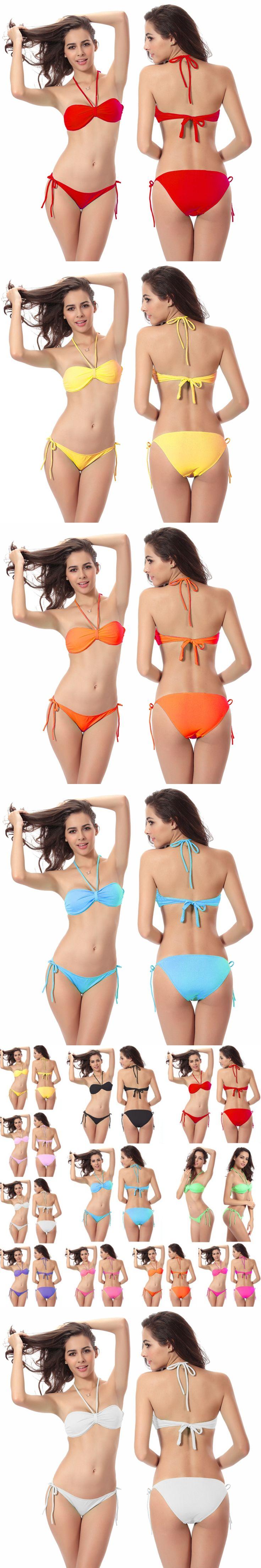 Tube Top Bikini Sexy Solid Swimsuit Women Beachwear Hot Halter Push Up Bathing Suits Maillot De Bain Femme Padded Swimming Wear