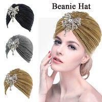 Wish | Indian Gold Beads Diamond Indian Stretchable Turban Hat Muslim Headband Wrap