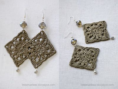 Airali handmade. Where is the Wonderland?: Doily crochet earrings