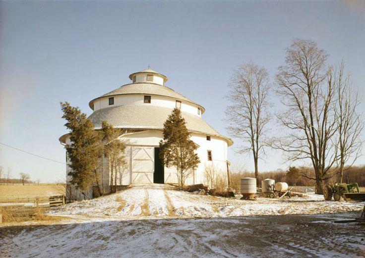 Front of the Thomas Ranck Round Barn along Fayette-Wayne County Line Road northeast of Waterloo in Fayette County, Indiana