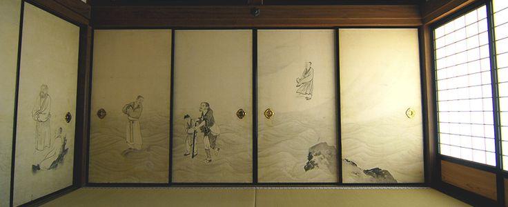 円山応挙筆:紙本墨画「波上群仙図」。左から荘子、孟子、琴高仙人、鉄拐仙人、列子(童子を除く)。