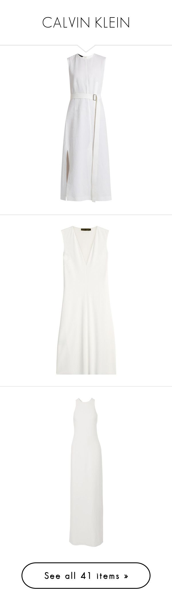 """""""CALVIN KLEIN"""" by mari-sv ❤ liked on Polyvore featuring dresses, white, white dress, panel dress, white day dress, calvin klein collection dresses, cotton dresses, calvin klein collection, v neckline dress and v-neck dresses"""