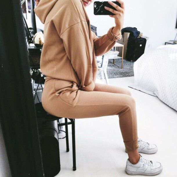 Jumpsuit: kylie jenner brown brown jogger outfit outfit cute outfits nude tracksuit