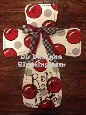 how to make a burlap football door hanger | Alabama Cross Roll Tide door hanger or wall by DLDesignsBirmingham, $ ...
