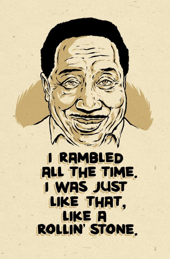 Muddy Waters rollin stone Poster- signed by Grego    Great folk art digital print on heavy speckletone creme cover stock.  - looks distressed and