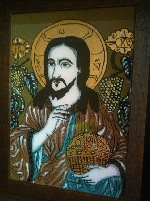 Jesus and life's grapes tree - romanian orthodox icon on glass