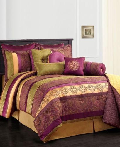 Sunham Leilani 10pc Full Comforter Set Purple Gold Green