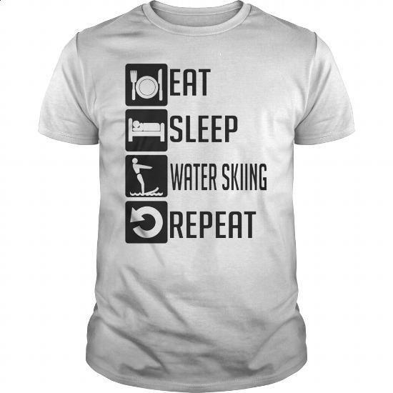 EAT SLEEP water skiing REPEAT T SHIRTS - #denim shirts #cool tshirt designs. I…