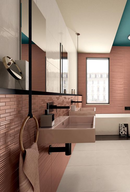 Work Collection #Marsala, the perfect color for your bathroom  #tile #bathroom #interior #design #concrete #cement #wall