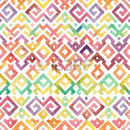 tribali: Seamless mano Acquerello Disegnato Etnico Tribale modello ornamentale. Tessuto, Scrapbooking, Carta da regalo modello struttura.