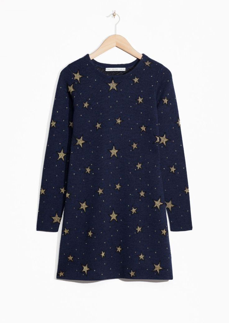 Other Stories image 2 of Star Jacquard Dress in Navy
