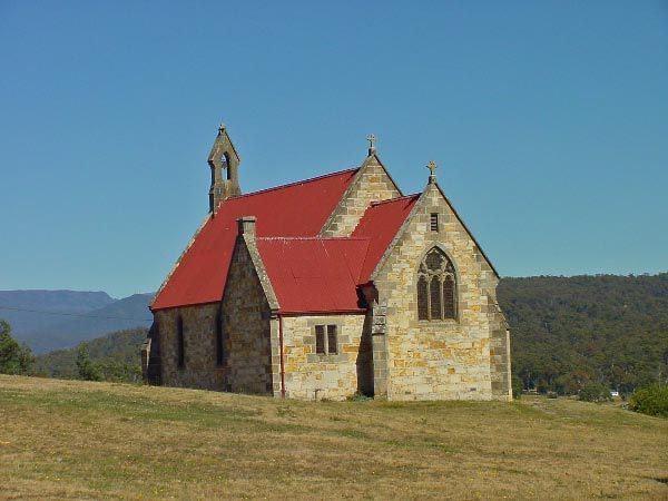 Fingal - St Josephs Catholic Church circa 1881. Photo by Dan Fellow and article by Len Langan for Think Tasmania.