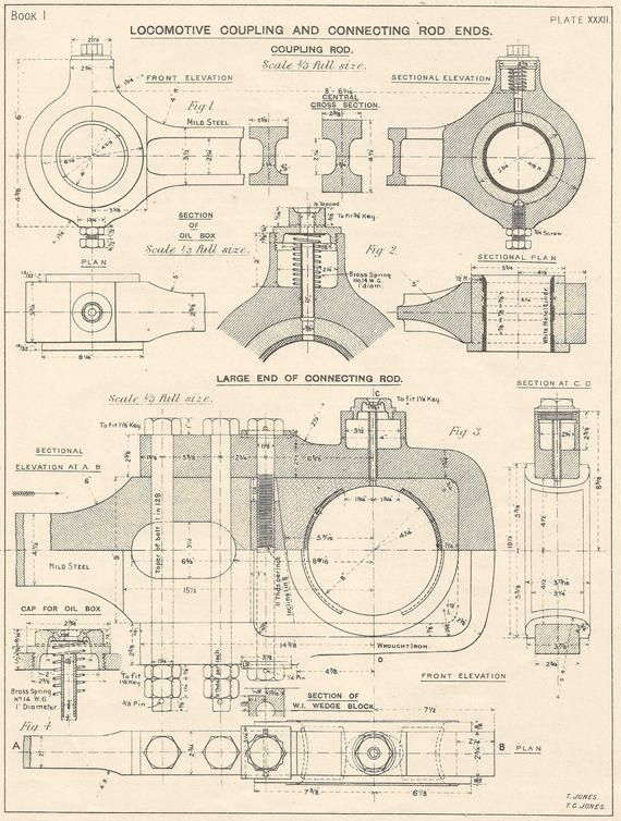 This Item Is A Wonderfully Detailed Machine Drawing Evoking That Era Of Machining And Industry Th Blueprint Art Mechanical Engineering Design Industrial Print