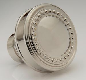 beaded convex knob shown in polished nickel available in diameter and numerous finishes