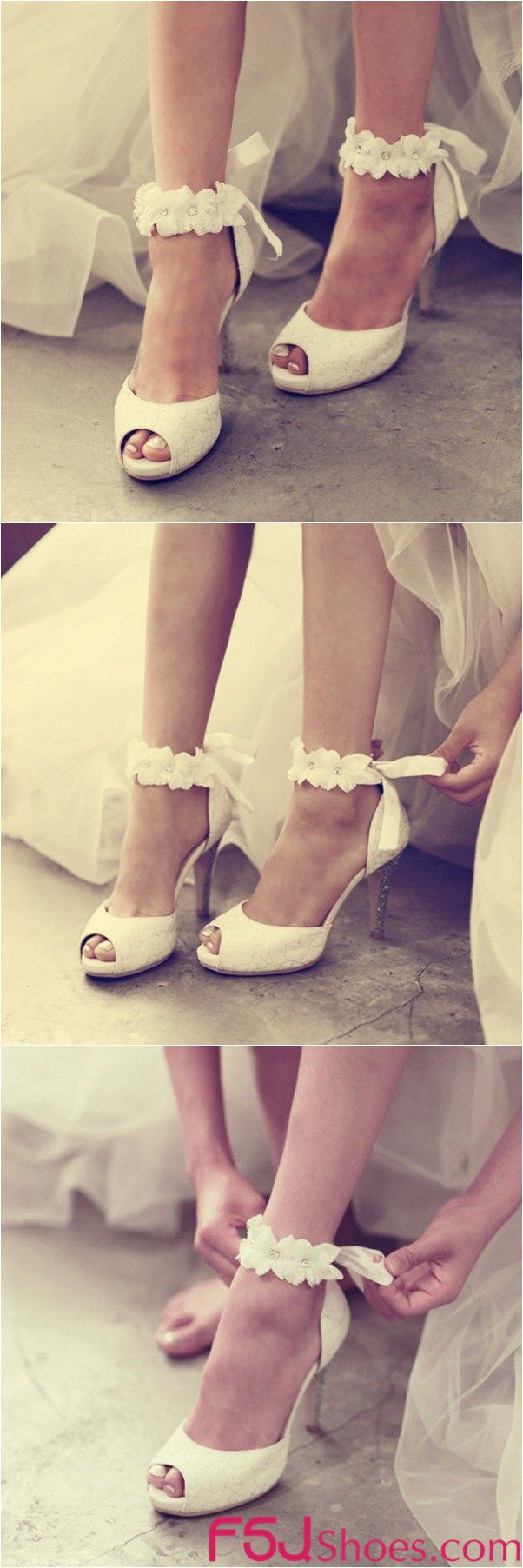 Women's Wedding Shoes Fall Fashion 2017 Fall Outfits Women White Lace Peep Toe Stiletto Heels Flora Ankle Strap Wedding Sandals Fall Wedding Dresses Shoes Mermaid Wedding Dress Heels Edgy Wedding Dresses Shoes Thanksgiving Outfit 2017| FSJ