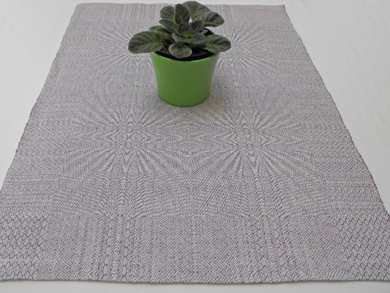 handwoven coffee table runner white and amethyst table linen kitchen table runner graphic