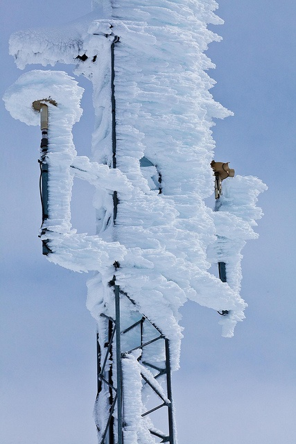 Rime Ice Coating A Weather Station Tower On Hurricane Ridge