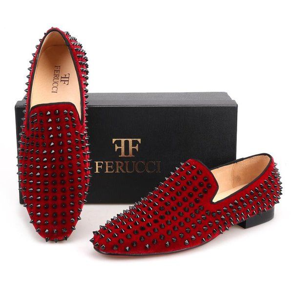 b710afa2a3b Burgundy loafer black rivets and spikes in 2019