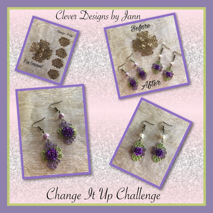 Change It Up Challenge for Jan/Feb/March .. A B'sue Filigree Stamping was cut into four pieces to make Earrings .. I colored the cut pieces using 2 of the colors from the color pallet .. roses, rhinestones and beads/pearls are also used .. Clever Designs by Jann