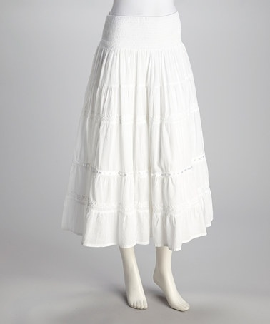 Take a look at this White Peasant Skirt by Coline USA on #zulily today!