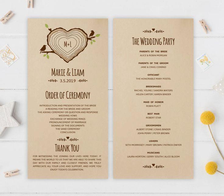 Kraft Wedding Programs PRINTED