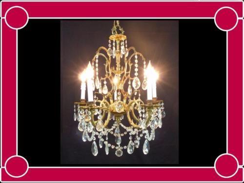 Exceptional-Vintage-European-Brass-Bronze-Vintage-Crystals-Chandelier-Gorgeous