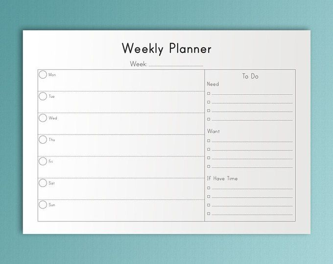 Weekly Agenda Planner PRINTABLE Planner Pages Weekly Organizer A4 Weekly Planner Inserts Monday Start Weekly Goals Planner Weekly Agenda.