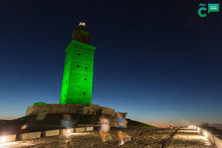 Tonight the #TowerofHercules wil be lit up in green. #StPatricksDay    #globalgreening  #VisitCoruna