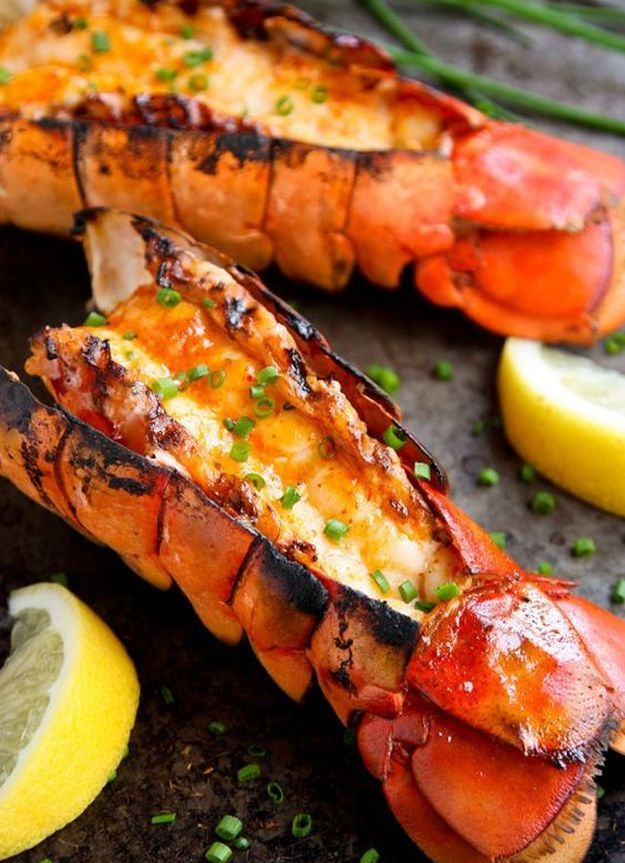 Grilled Lobster Tails with Sriracha Butter | A Dozen Grilled Seafood Recipes For Your Next Seafood Feast by Homemade Recipes at http://homemaderecipes.com/12-grilled-seafood-recipes/