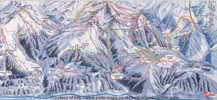 Verbier Switzerland Piste Map. The four valleys are ski lift interconnected and the main ski terminal is at Medran.