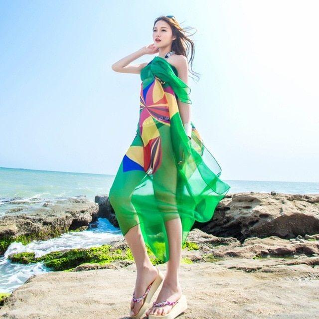 Efinny 140x190cm pareo scarf women beach sarongs summer chiffon scarves geometrical