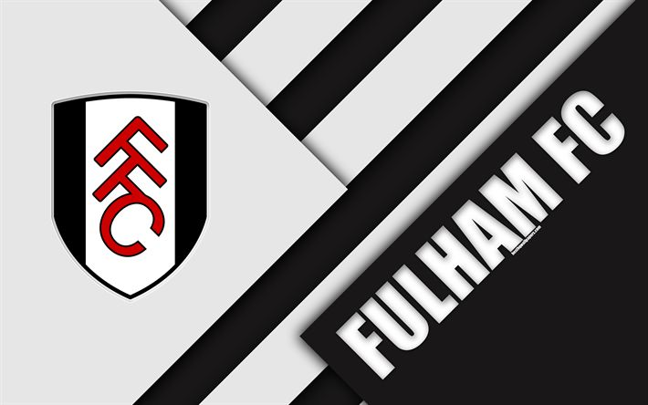 Download wallpapers Fulham FC, London, logo, 4k, white black abstraction, material design, English football club, England, UK, football, EFL Championship
